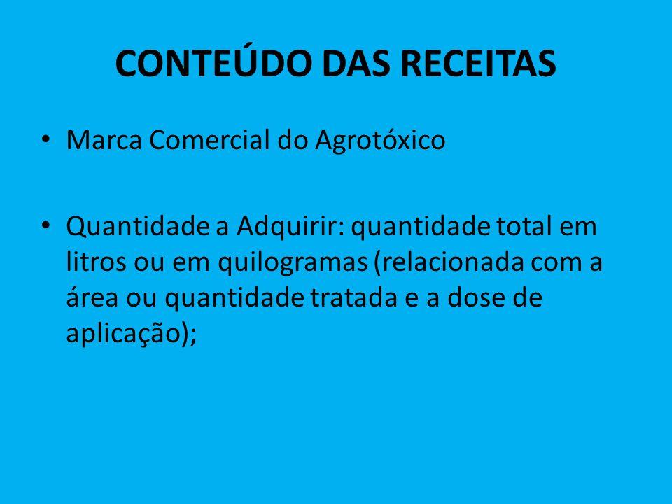 CONTEÚDO DAS RECEITAS Marca Comercial do Agrotóxico