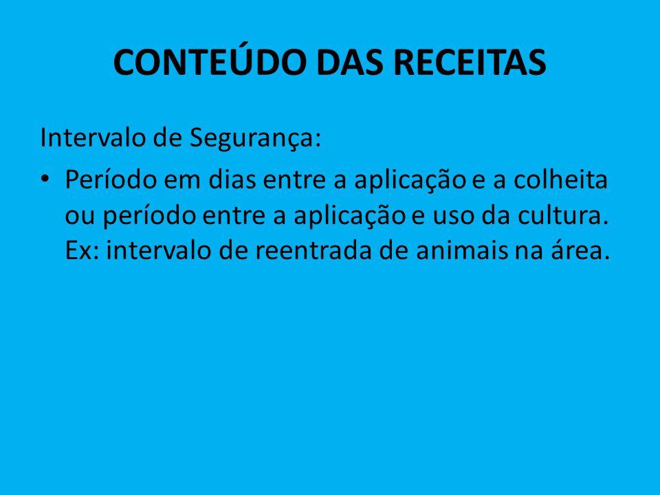 CONTEÚDO DAS RECEITAS Intervalo de Segurança: