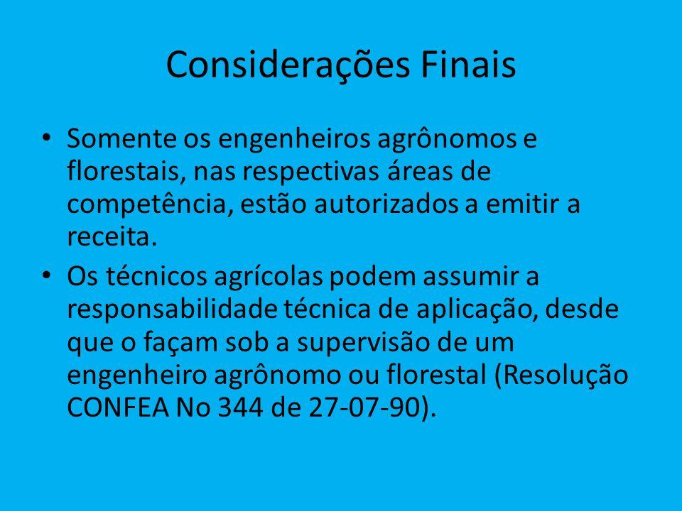 Considerações Finais Somente os engenheiros agrônomos e florestais, nas respectivas áreas de competência, estão autorizados a emitir a receita.