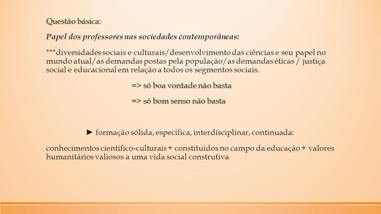 Questão básica: Papel dos professores nas sociedades contemporâneas:
