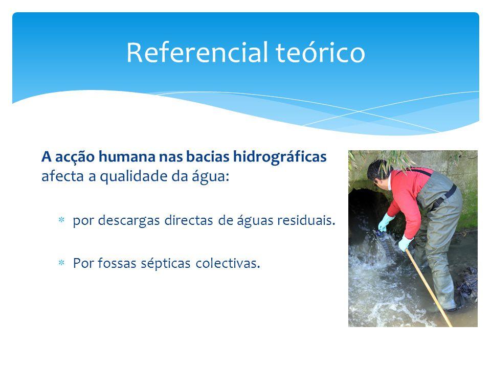 Referencial teórico A acção humana nas bacias hidrográficas afecta a qualidade da água: por descargas directas de águas residuais.