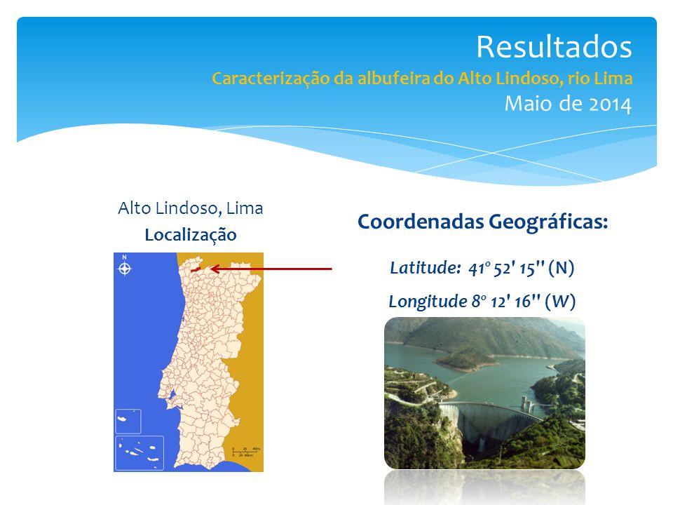 Resultados Caracterização da albufeira do Alto Lindoso, rio Lima Maio de 2014