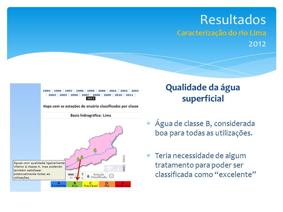 Resultados Caracterização do rio Lima 2012
