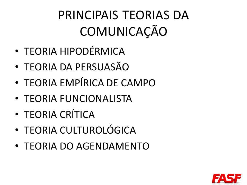 PRINCIPAIS TEORIAS DA COMUNICAÇÃO