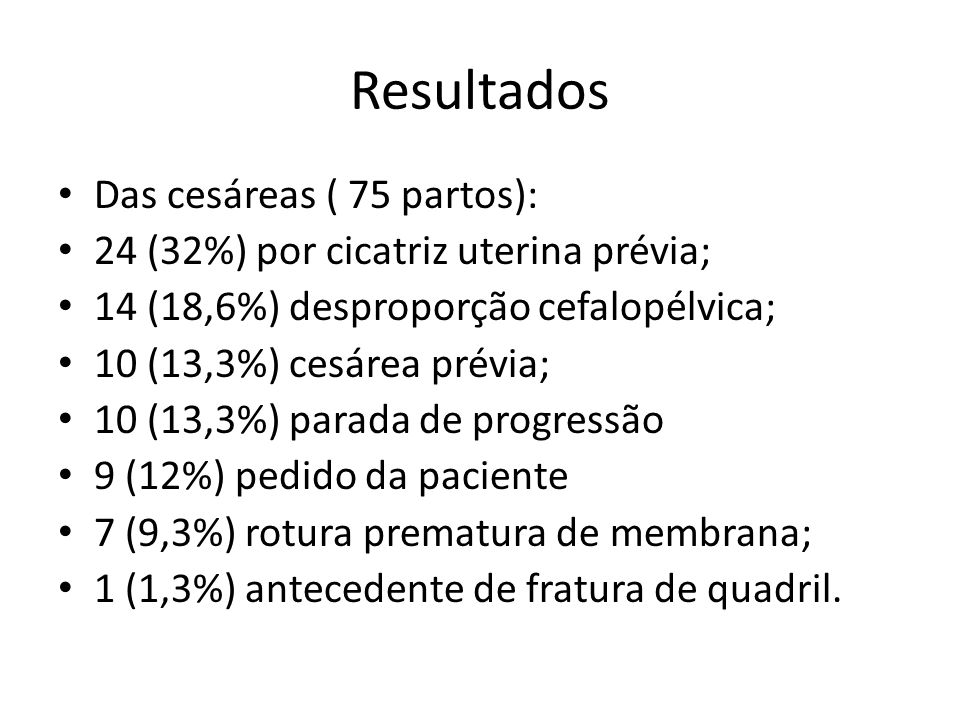 Resultados Das cesáreas ( 75 partos):