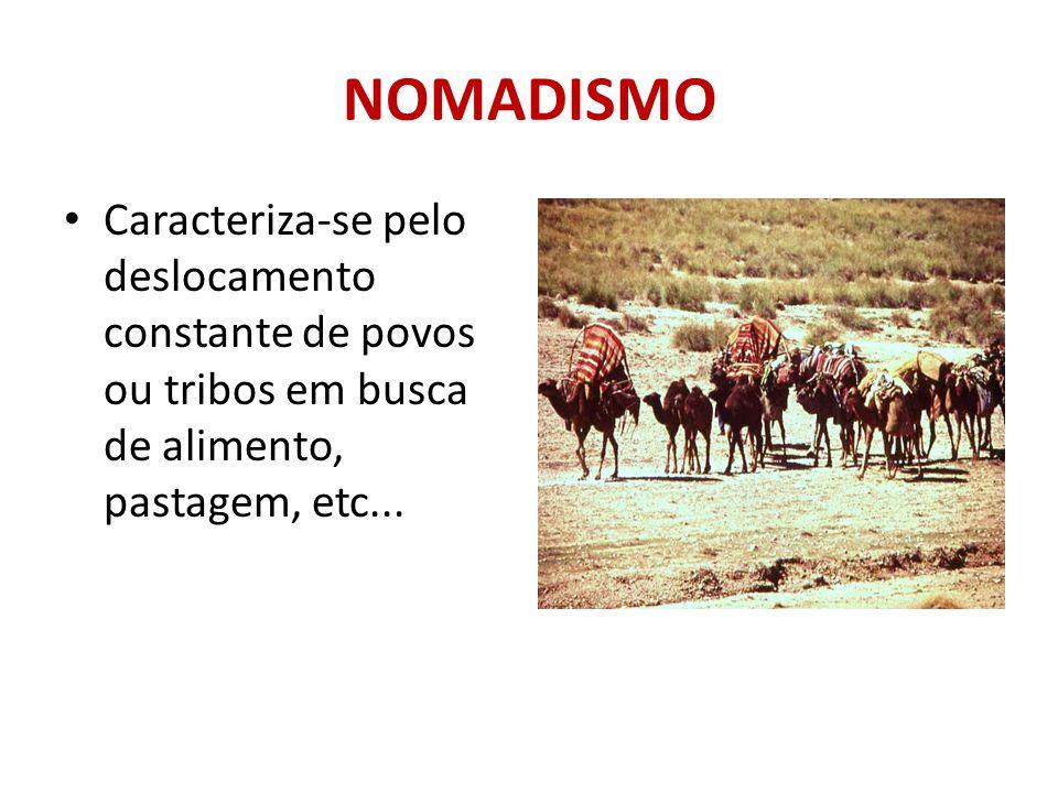 NOMADISMO Caracteriza-se pelo deslocamento constante de povos ou tribos em busca de alimento, pastagem, etc...