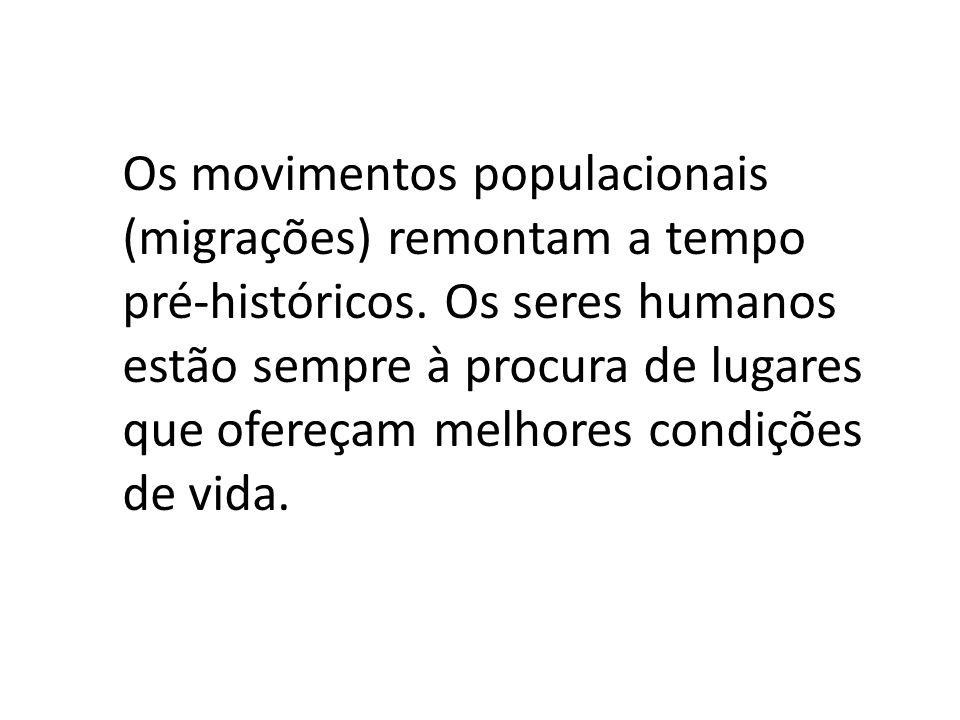 Os movimentos populacionais (migrações) remontam a tempo pré-históricos.