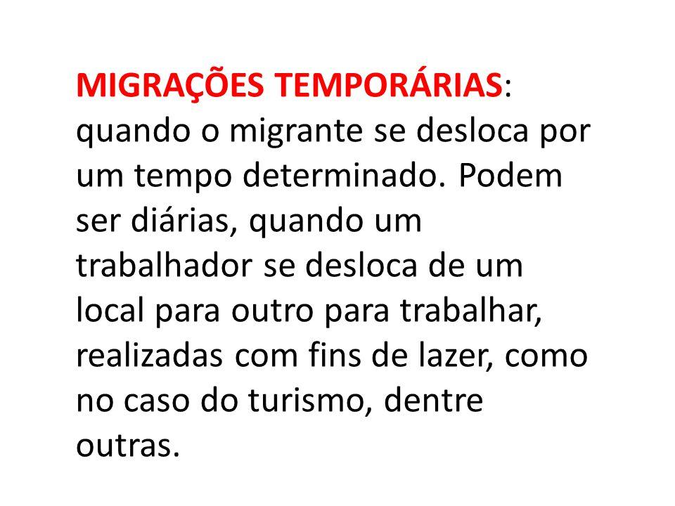 MIGRAÇÕES TEMPORÁRIAS: quando o migrante se desloca por um tempo determinado.