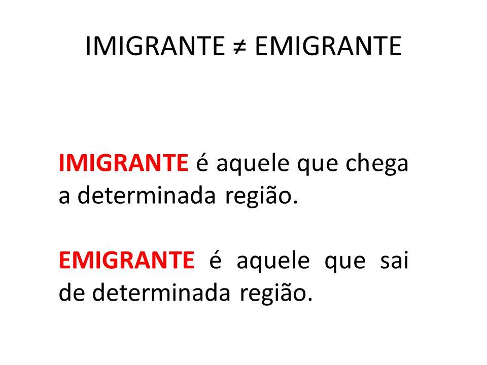 IMIGRANTE ≠ EMIGRANTE IMIGRANTE é aquele que chega a determinada região.