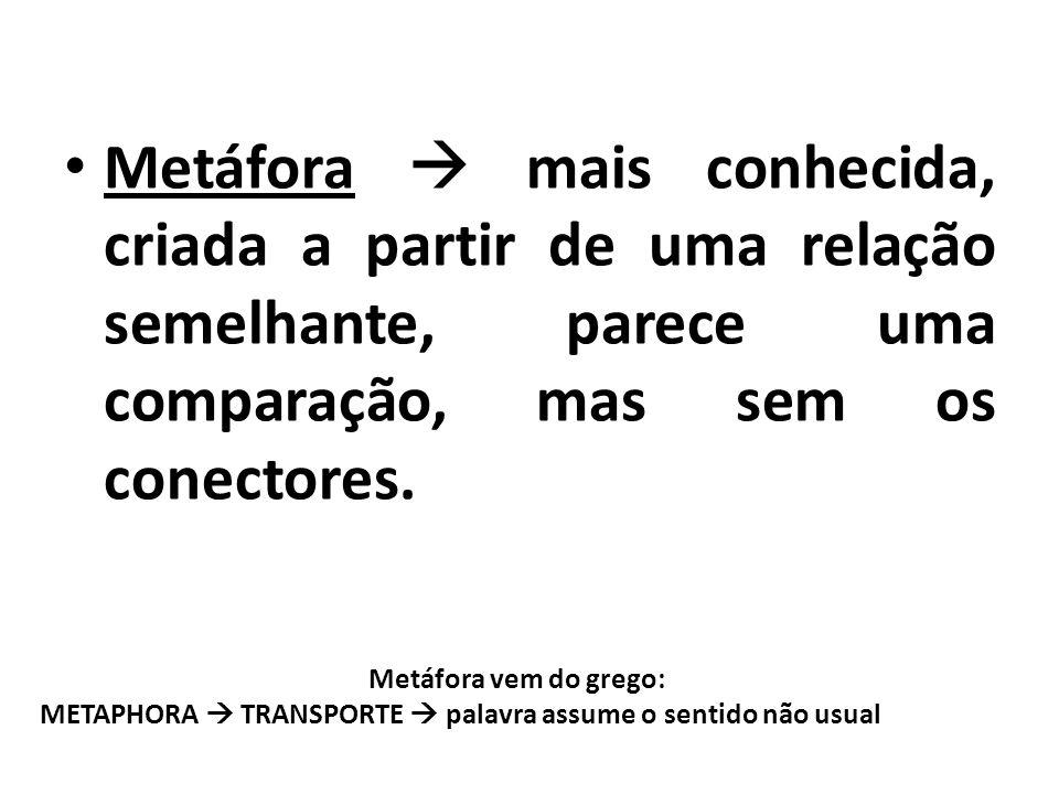 Metáfora  mais conhecida, criada a partir de uma relação semelhante, parece uma comparação, mas sem os conectores.