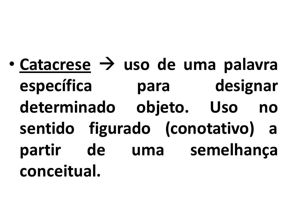 Catacrese  uso de uma palavra específica para designar determinado objeto.