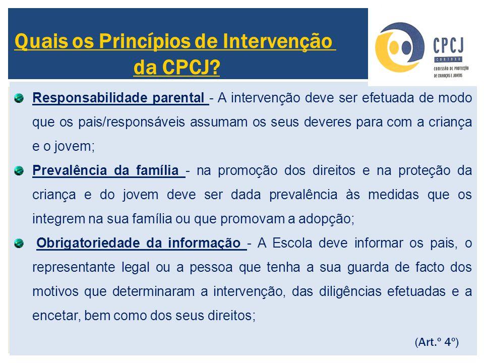 Quais os Princípios de Intervenção da CPCJ