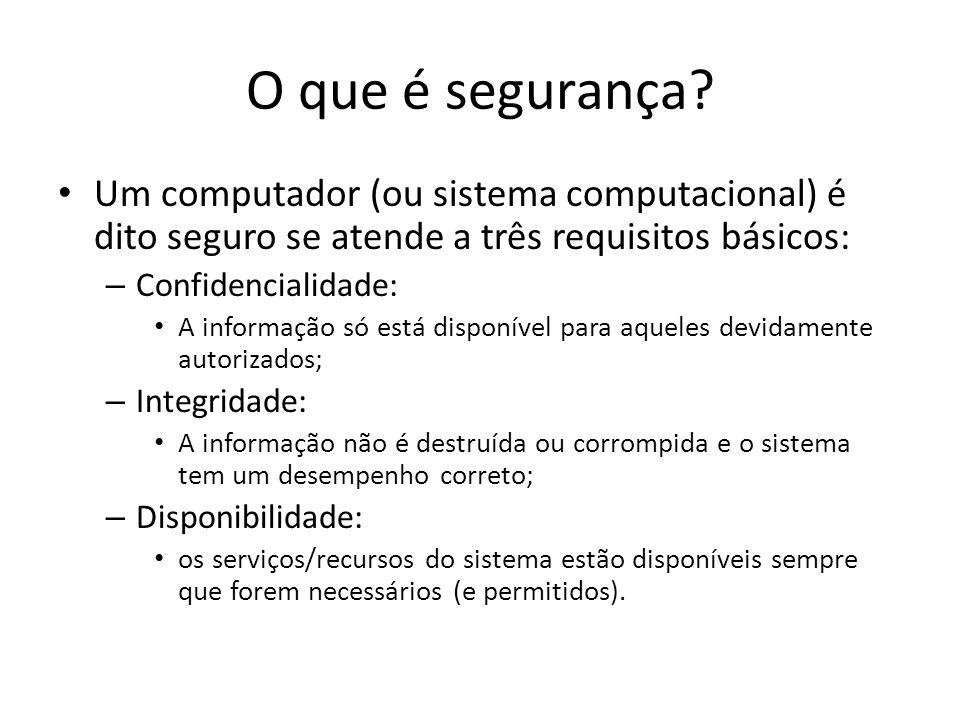 O que é segurança Um computador (ou sistema computacional) é dito seguro se atende a três requisitos básicos: