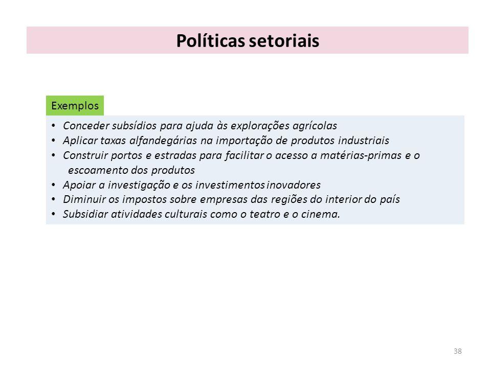 Políticas setoriais Exemplos
