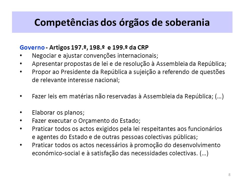 Competências dos órgãos de soberania