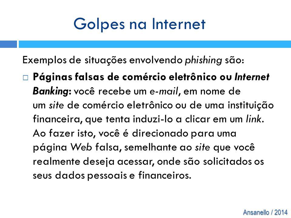 Golpes na Internet Exemplos de situações envolvendo phishing são: