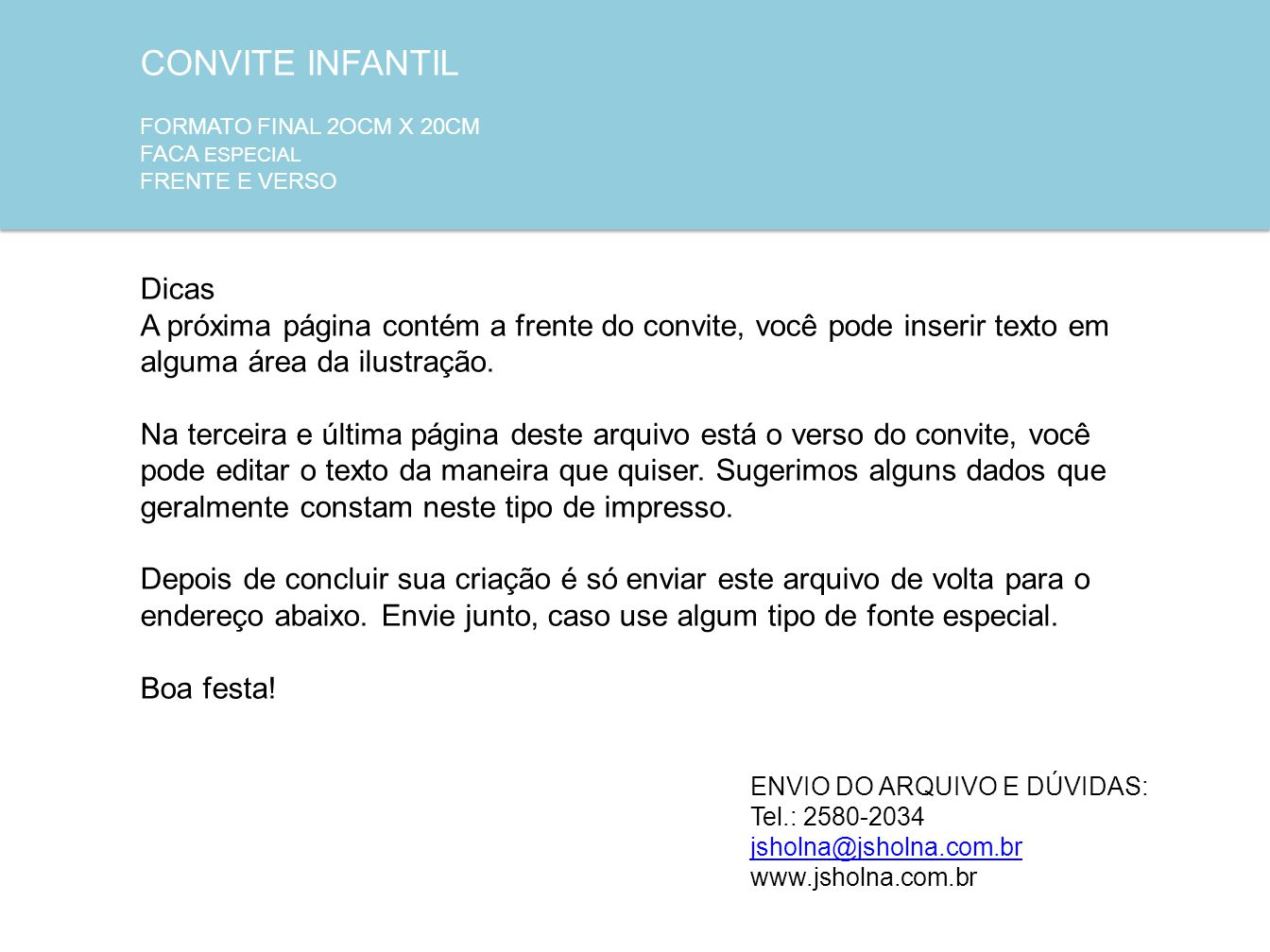 CONVITE INFANTIL Dicas