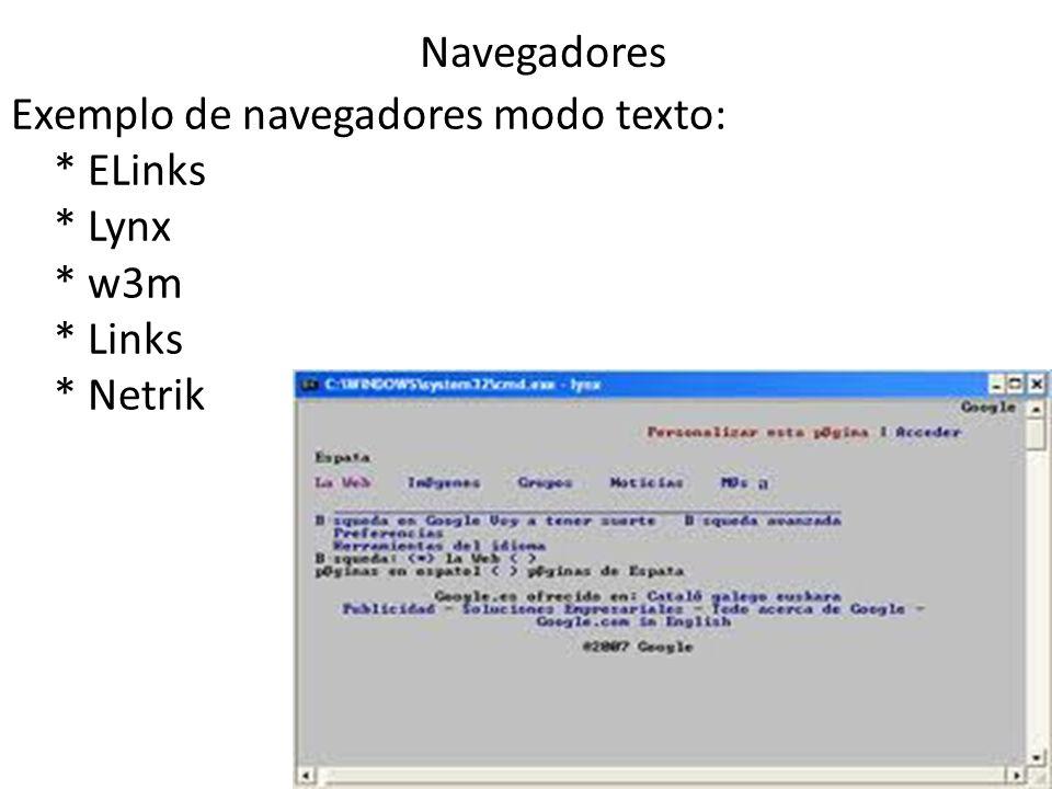 Navegadores Exemplo de navegadores modo texto: * ELinks * Lynx * w3m * Links * Netrik