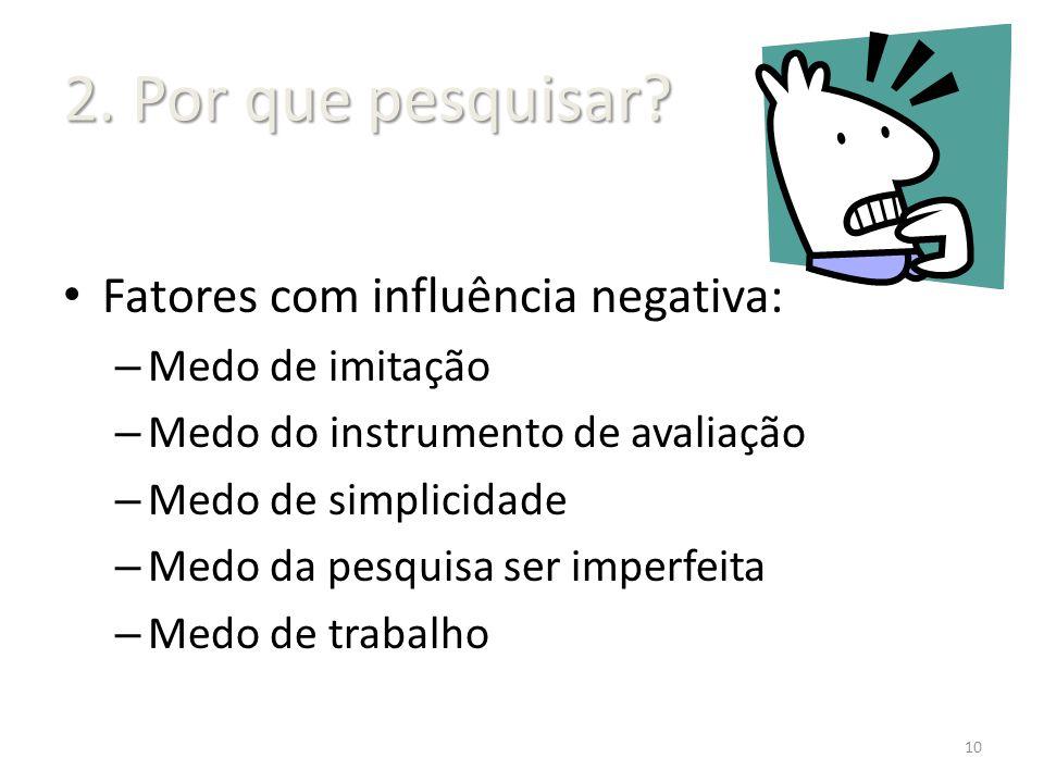 2. Por que pesquisar Fatores com influência negativa: