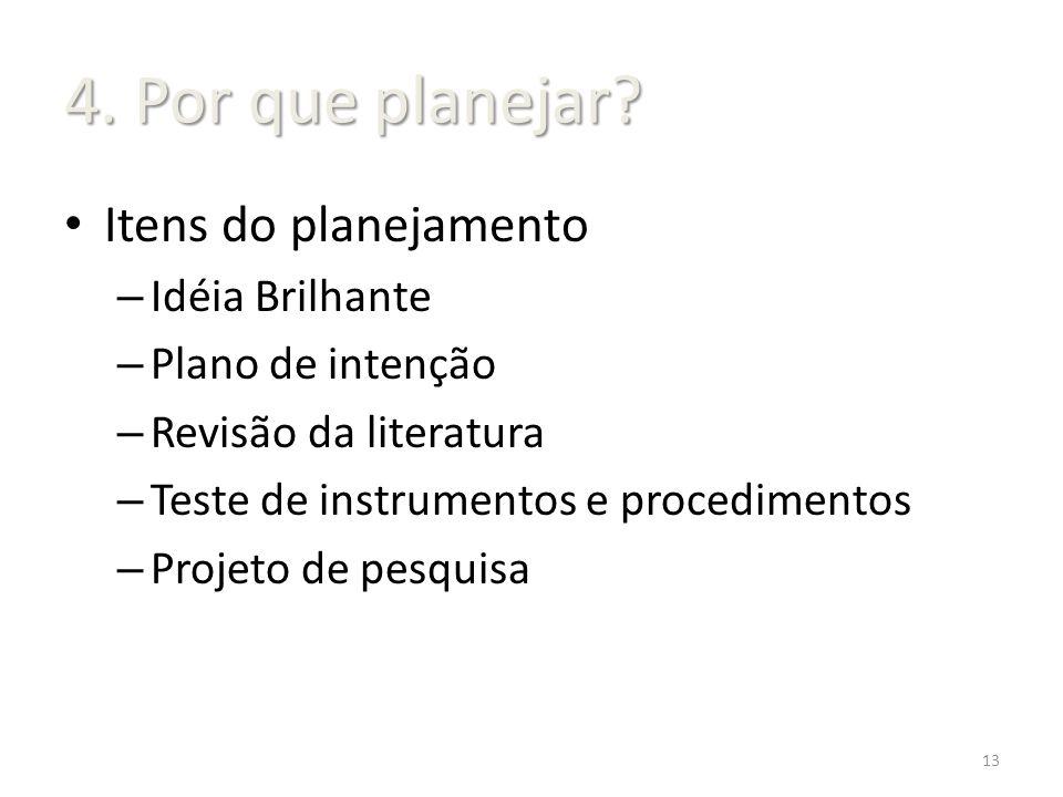 4. Por que planejar Itens do planejamento Idéia Brilhante
