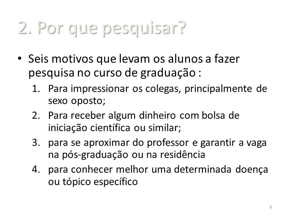 2. Por que pesquisar Seis motivos que levam os alunos a fazer pesquisa no curso de graduação :