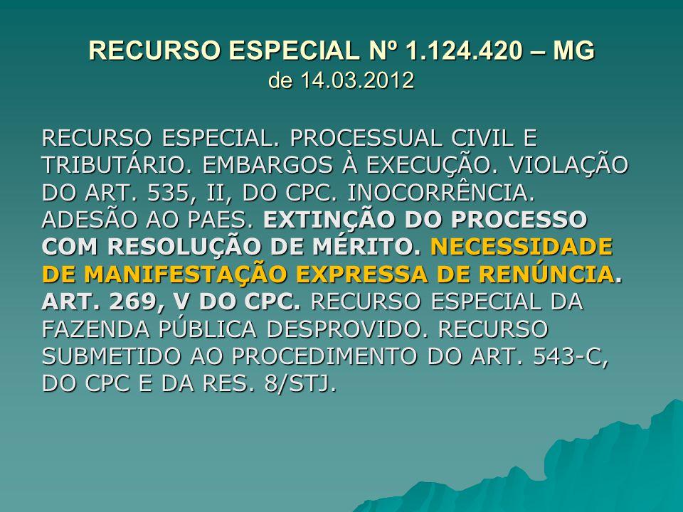 RECURSO ESPECIAL Nº 1.124.420 – MG de 14.03.2012