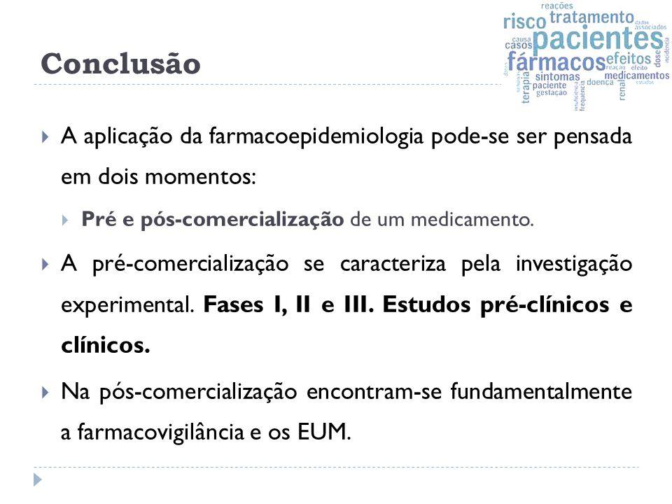 Conclusão A aplicação da farmacoepidemiologia pode-se ser pensada em dois momentos: Pré e pós-comercialização de um medicamento.