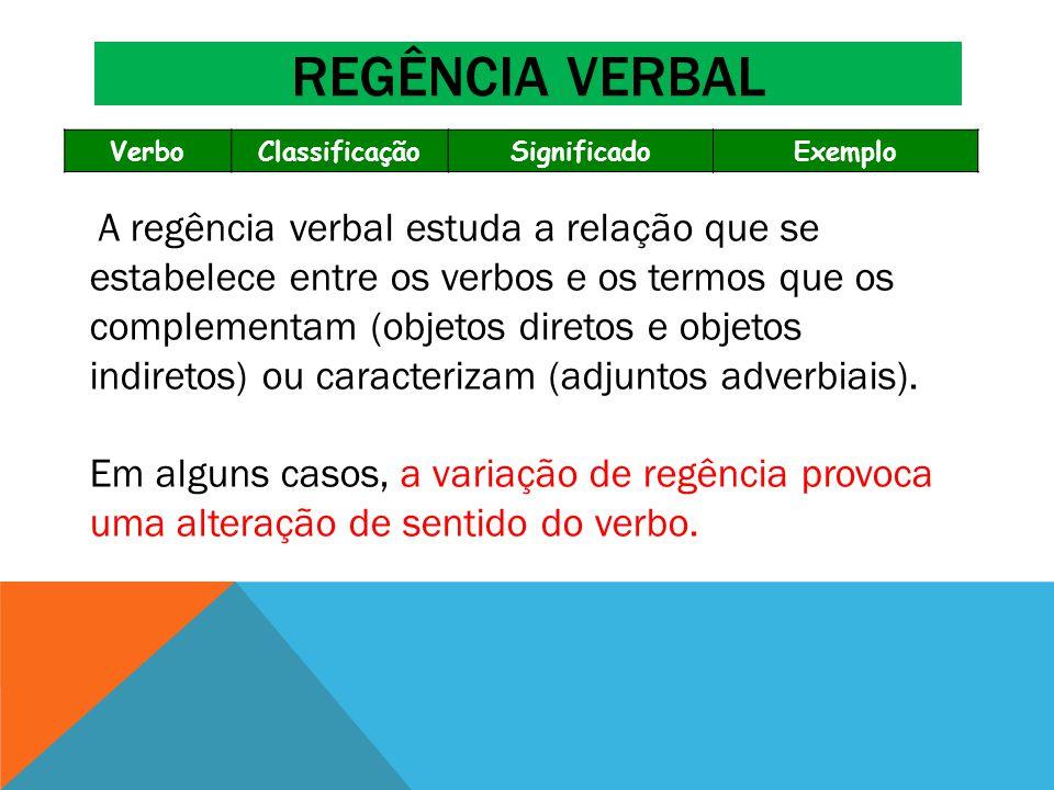 Regência verbal Verbo. Classificação. Significado. Exemplo.