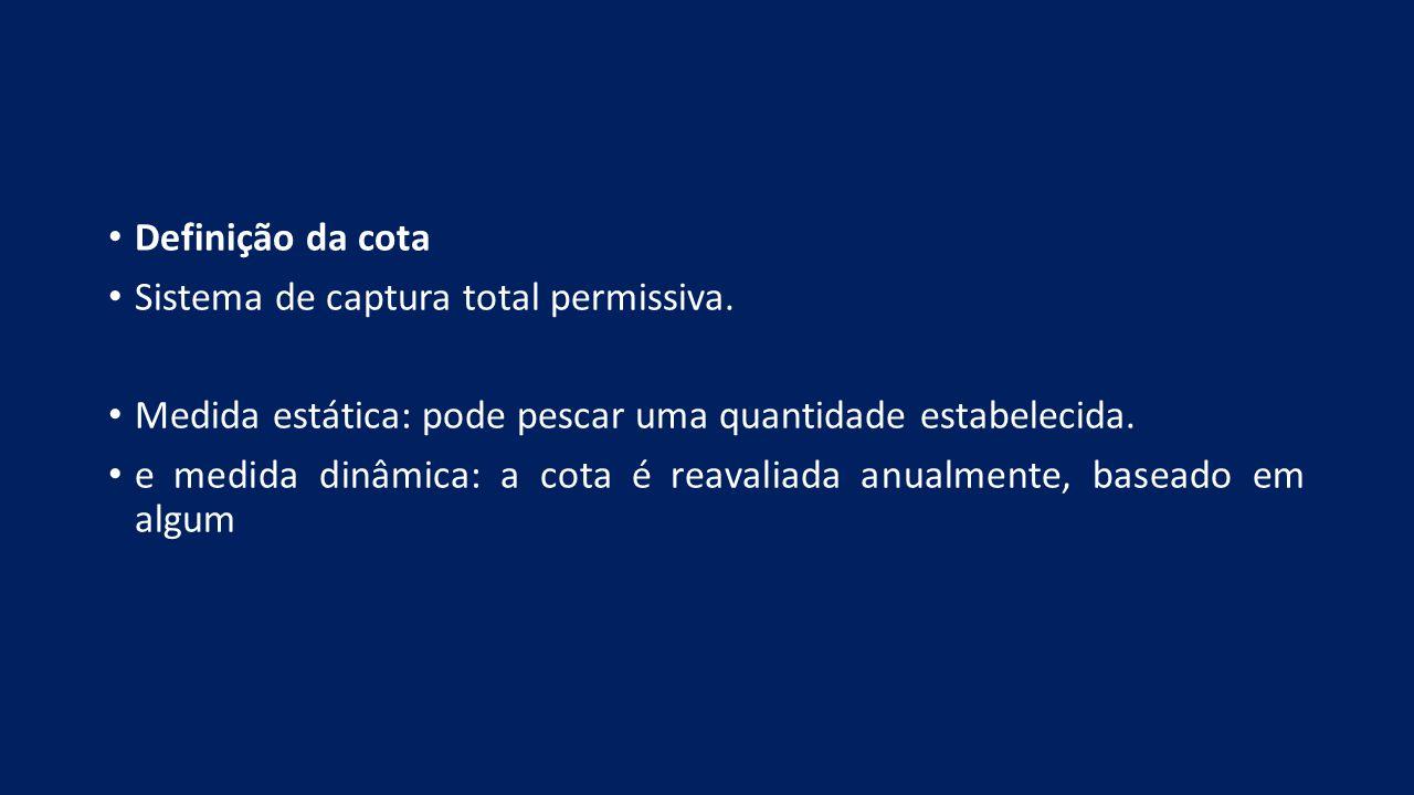 Definição da cota Sistema de captura total permissiva. Medida estática: pode pescar uma quantidade estabelecida.