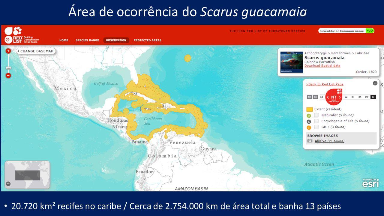 Área de ocorrência do Scarus guacamaia