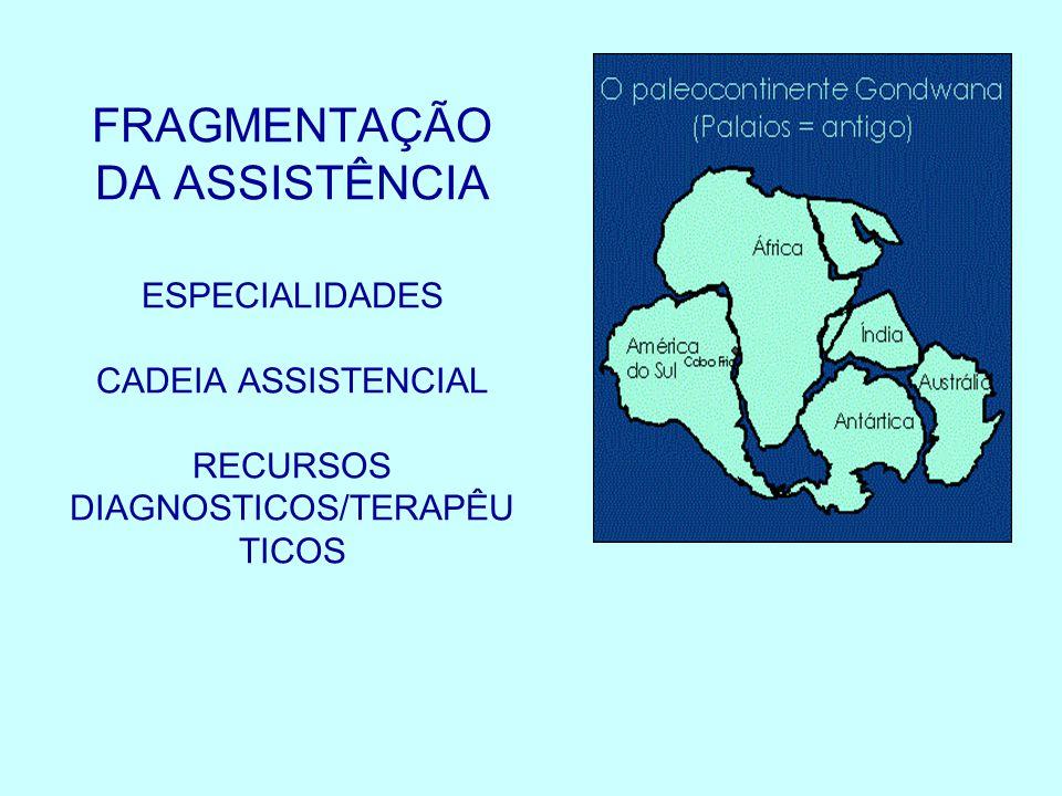 FRAGMENTAÇÃO DA ASSISTÊNCIA ESPECIALIDADES CADEIA ASSISTENCIAL RECURSOS DIAGNOSTICOS/TERAPÊUTICOS