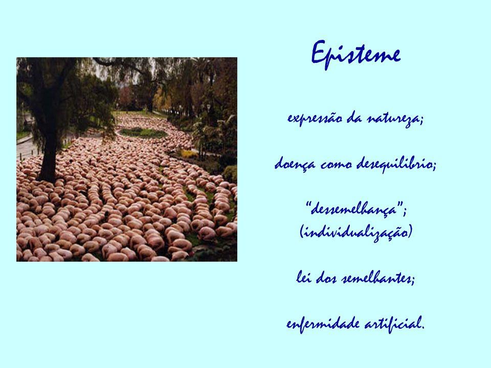 Episteme expressão da natureza; doença como desequilibrio; dessemelhança ; (individualização) lei dos semelhantes; enfermidade artificial.