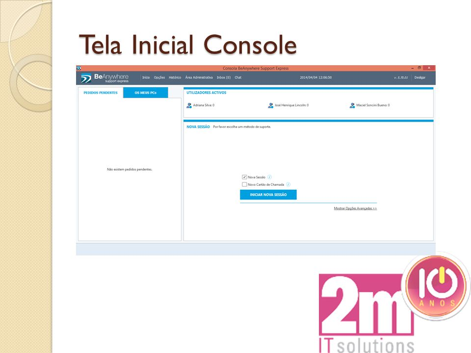 Tela Inicial Console