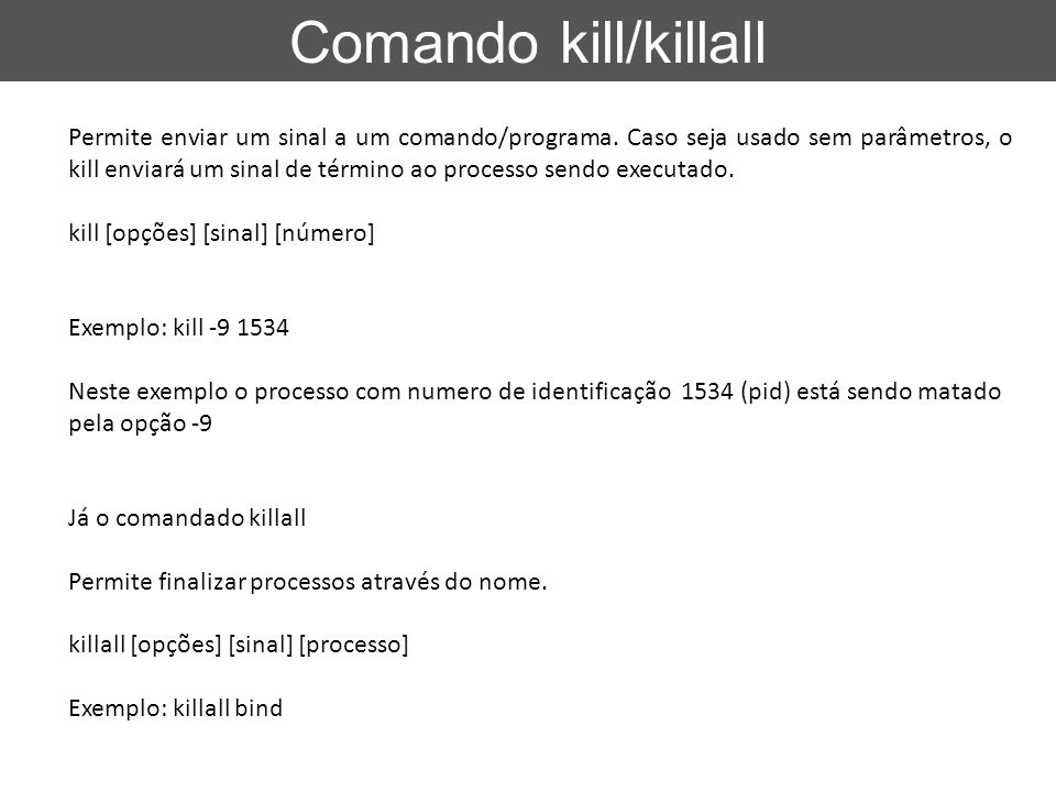 Comando kill/killall