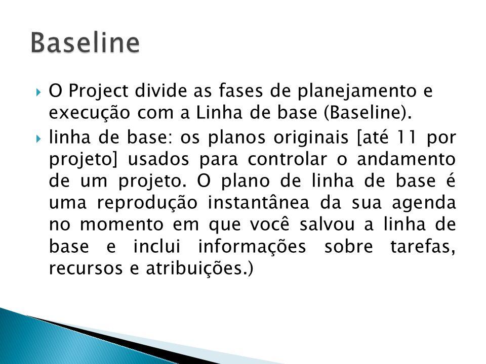 Baseline O Project divide as fases de planejamento e execução com a Linha de base (Baseline).