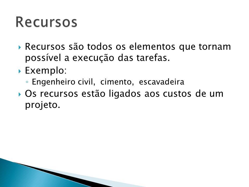 Recursos Recursos são todos os elementos que tornam possível a execução das tarefas. Exemplo: Engenheiro civil, cimento, escavadeira.