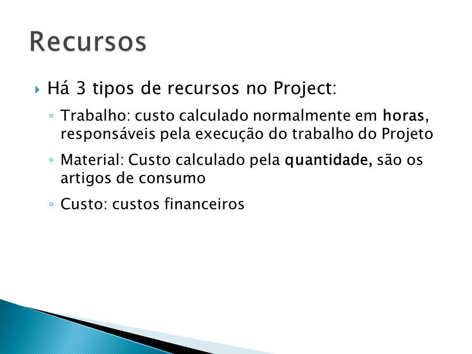 Recursos Há 3 tipos de recursos no Project: