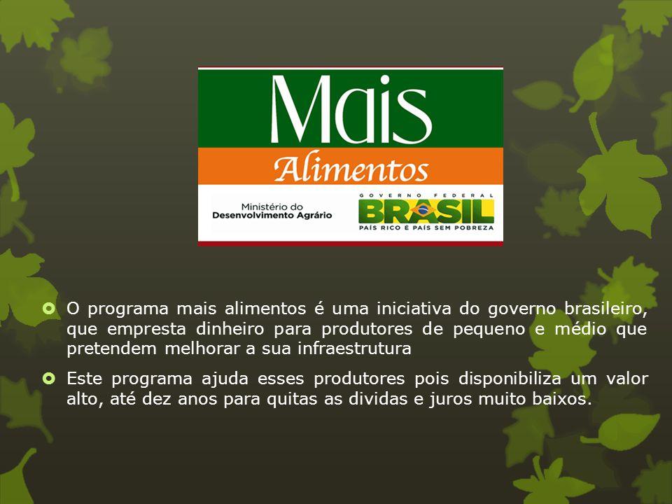 O programa mais alimentos é uma iniciativa do governo brasileiro, que empresta dinheiro para produtores de pequeno e médio que pretendem melhorar a sua infraestrutura