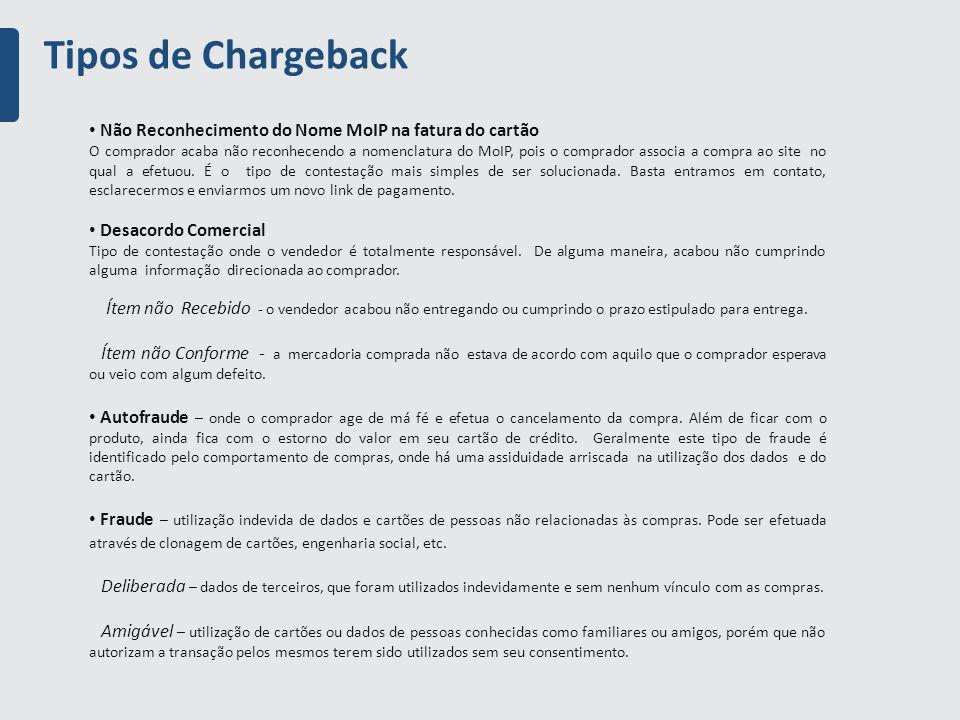 Tipos de Chargeback Não Reconhecimento do Nome MoIP na fatura do cartão.