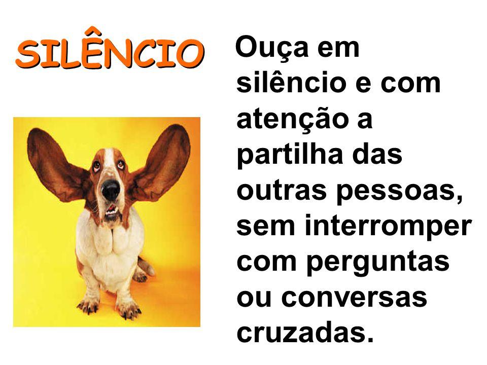 30303030 Ouça em silêncio e com atenção a partilha das outras pessoas, sem interromper com perguntas ou conversas cruzadas.