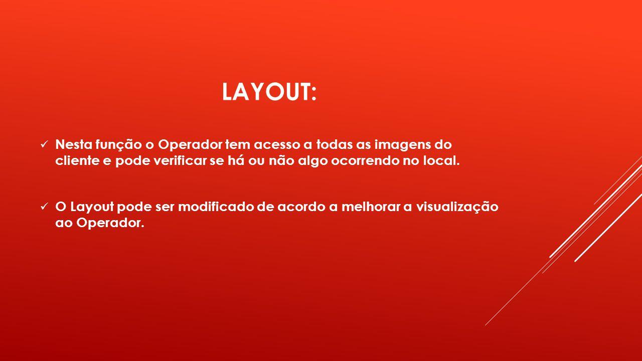 LAYOUT: Nesta função o Operador tem acesso a todas as imagens do cliente e pode verificar se há ou não algo ocorrendo no local.