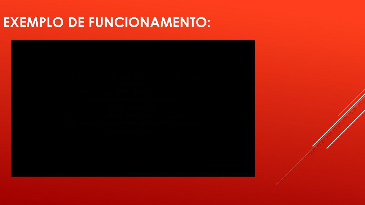 EXEMPLO DE FUNCIONAMENTO: