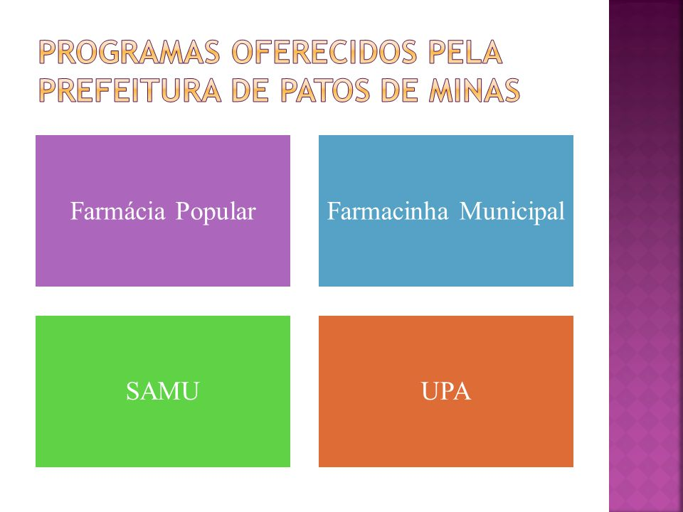 Programas oferecidos pela prefeitura de patos de minas
