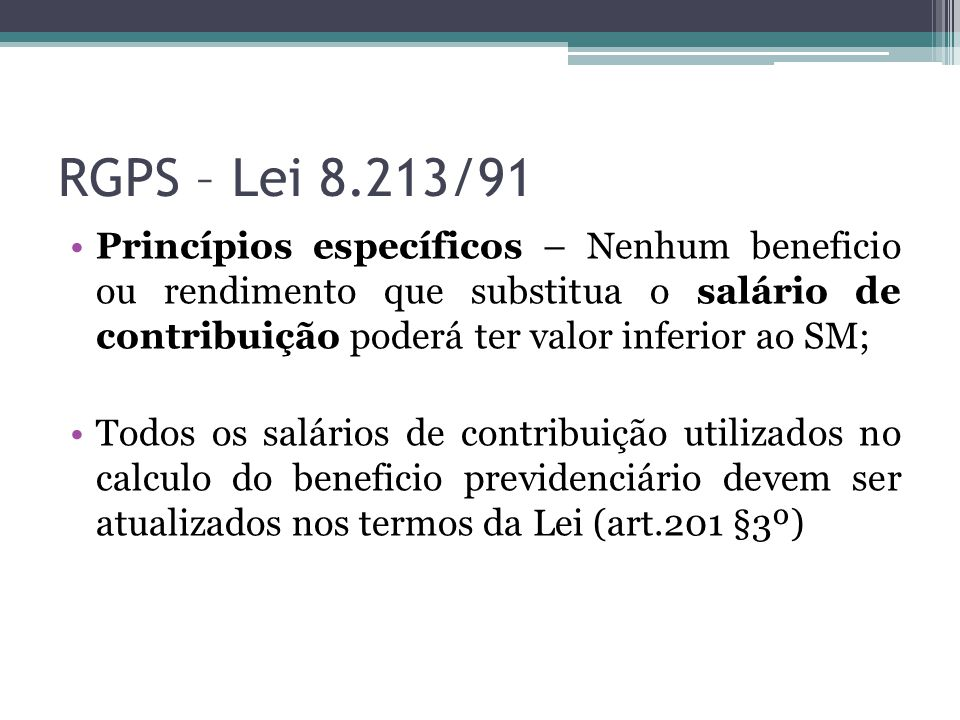 RGPS – Lei 8.213/91