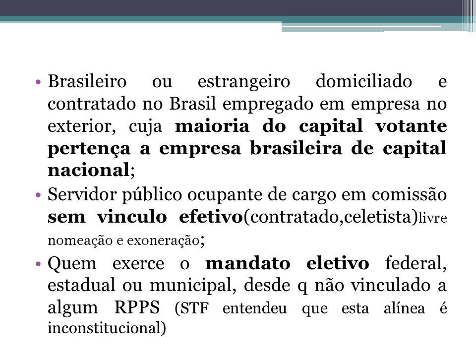 Brasileiro ou estrangeiro domiciliado e contratado no Brasil empregado em empresa no exterior, cuja maioria do capital votante pertença a empresa brasileira de capital nacional;