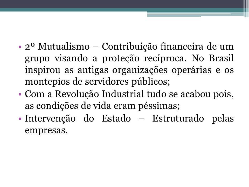 2º Mutualismo – Contribuição financeira de um grupo visando a proteção recíproca. No Brasil inspirou as antigas organizações operárias e os montepios de servidores públicos;