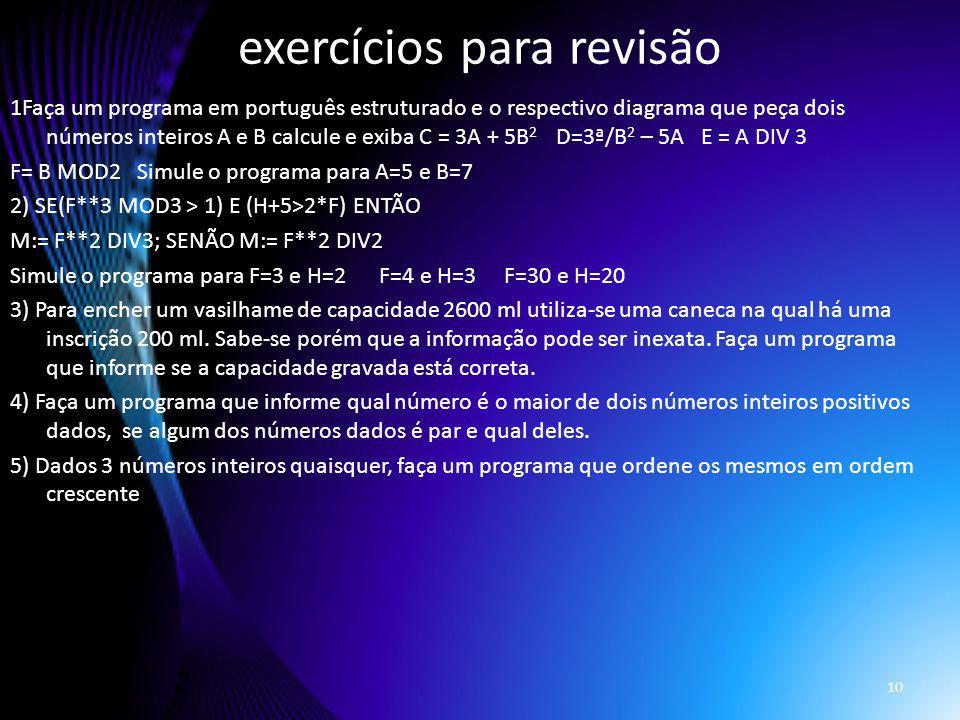 exercícios para revisão