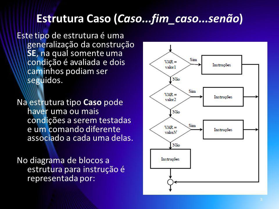Estrutura Caso (Caso...fim_caso...senão)
