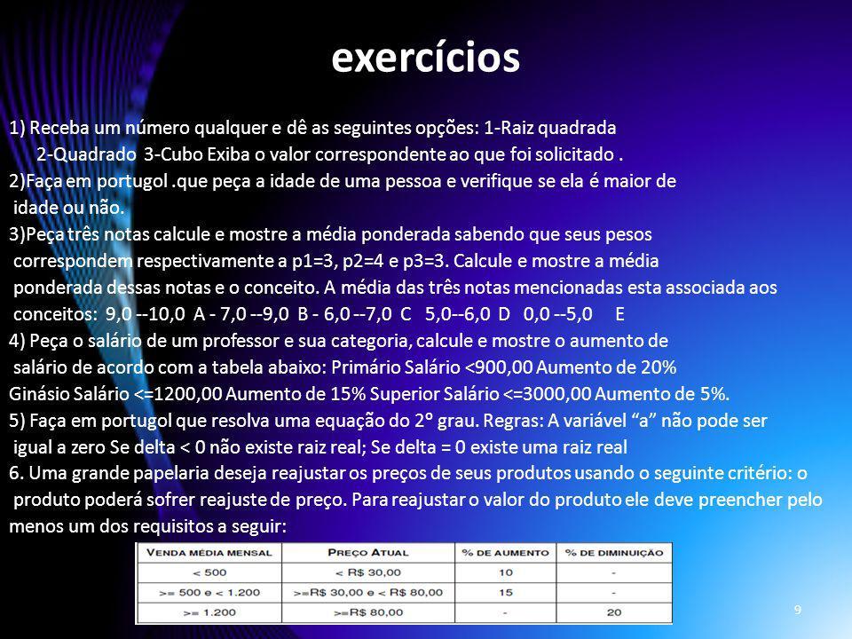 exercícios 1) Receba um número qualquer e dê as seguintes opções: 1-Raiz quadrada.