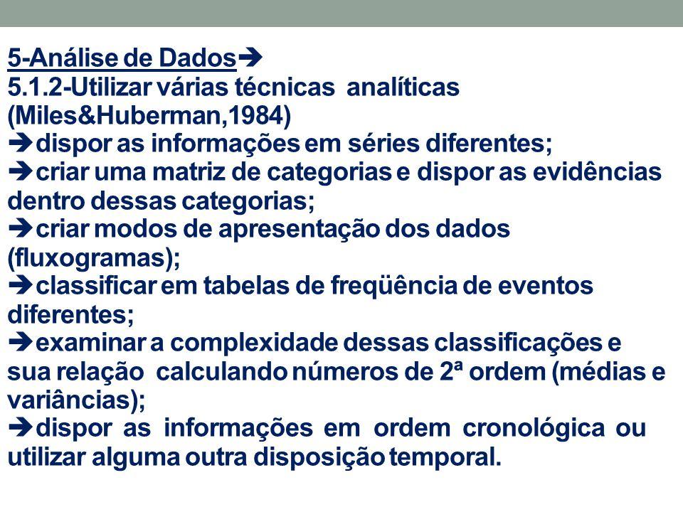 5-Análise de Dados 5.1.2-Utilizar várias técnicas analíticas (Miles&Huberman,1984) dispor as informações em séries diferentes;